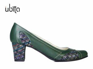 Pantofi dama verzi cu toc mic din piele naturala la comanda V0613-Armaii