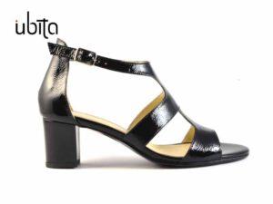 Sandale casual dama din piele neagra cu toc mic groas la comanda VA0283-Kenia
