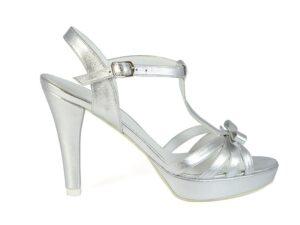 Sandale cu platforma piele naturala argintie la comanda V0574-Kaiya
