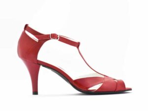 Pantofi dama tip sanda cu toc mediu si bareta in T din piele naturala la comanda V0513-Frida