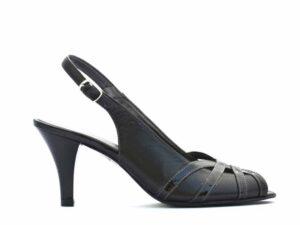 Sandale casual dama din piele naturala neagra cu toc mediu si bareta la spate V0043-Gemma