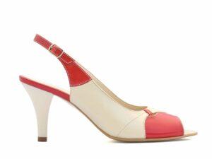 Sandale dama cu toc mediu din piele naturala rosu cu crem si bareta la spate pe comanda V0137-Milena