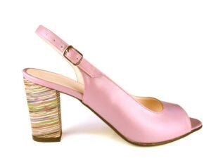 Sandale roz piele casual dama cu toc gros mediu la comanda V0800-Monica
