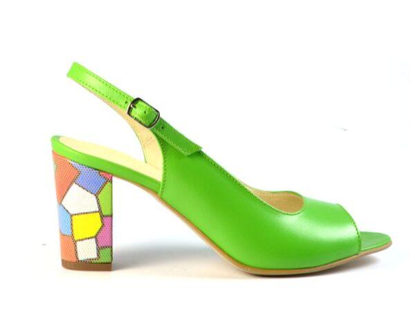 Sandale dama verzi cadual din piele naturala si cu toc mediu V0800-Miriam