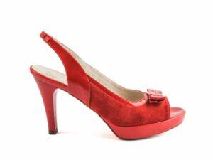 Sandale rosii cu platforma din piele naturala la comanda V0568-Freya