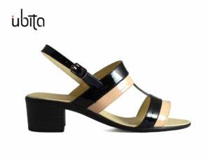 Sandale negru cu bej dama din piele lac cu toc mic gros la comanda VA0034-Malia