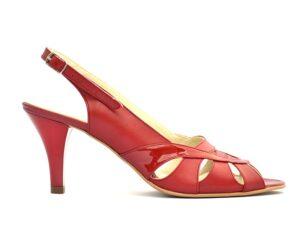 Sandale casual cu toc mediu din piele naturala rosie si cu bareta la spate V0511-Milana