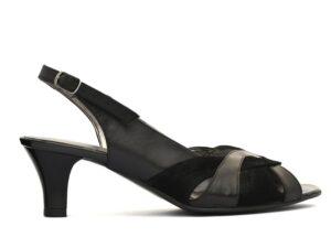 Sandale dama negre elegante cu toc mic din piele naturala la comanda V0512-Moriah