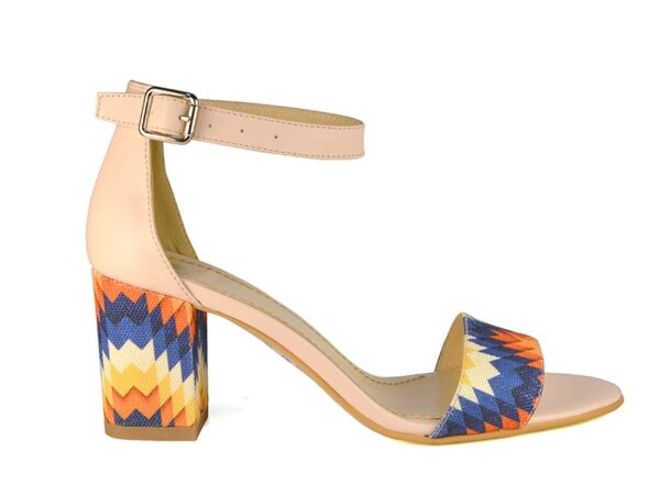 Sandale de dama din material textil colorat si toc mediu F0007-Neriah