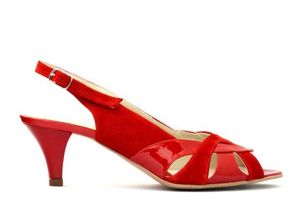 Sandale dama cu toc mic din piele intoarsa rosie la comanda V0512-Morgan