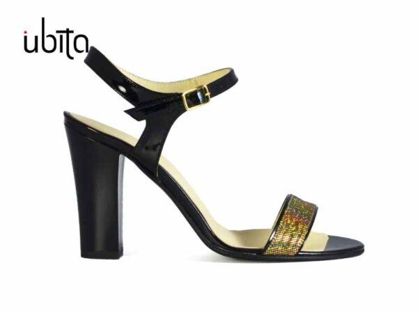 Sandale dama elegante de seara din piele naturala aurie si cu toc inalt la comanda VPr0015-Mabel