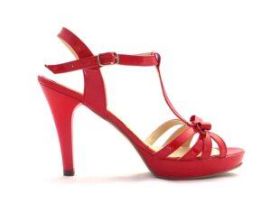 Sandale cu platforma rosii din piele naturala si cu bareta in t peste picior la comanda V0574-Andi