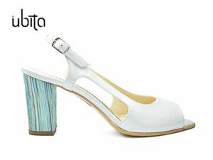 Sandale dama piele naturala alba cu toc gros mediu la comanda F0006-Jaylah