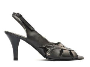 Sandale negre dama din piele naturala cu toc mediu si bareta la spate pe comanda V0511-Milani