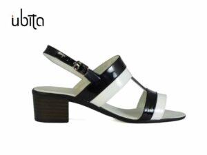 Sandale abl cu negru dama din piele lac cu toc gros mic la comanda VA0034-Maeve