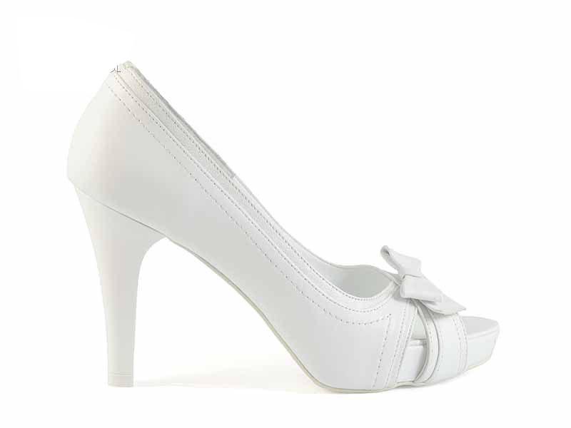Pantofi cu platforma de mireasa din piele naturala
