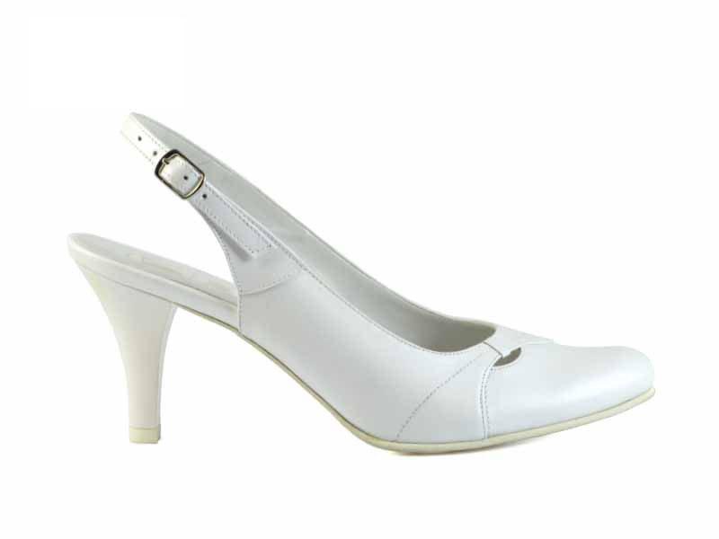 pantofi de mireasa albi decupati la spate